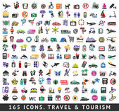 165 colors icons. Travel and Tourism — Vecteur
