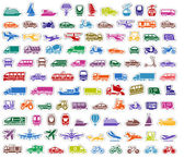 104 Transport icons set stickers — Vector de stock