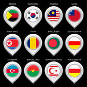 Map marker with flag-set fourteenth — Stockvector