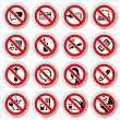 Set Prohibited symbols — Stock Vector