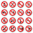 Set Prohibited signs on paper stickers — Stock Vector