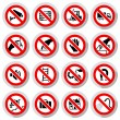 Set icons Prohibited symbols — Stock Vector