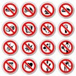 Set Prohibited symbols on paper stickers — Stock Vector
