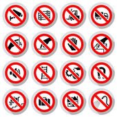 Set icons Prohibited symbols — Stock Vector
