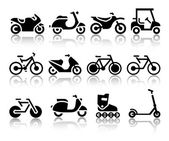Motorcycles and bicycles set of black icons — Stock Vector