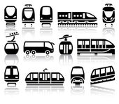 Passenger and public transport black icons — Stock Vector