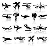 Set of aircrafts black icons — Stock Vector