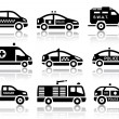 Set of service automobiles black icons — Stock Vector #41730829