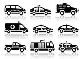 Set of service automobiles black icons — Stock Vector