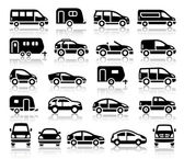 Set of transport black icons — Stock Vector
