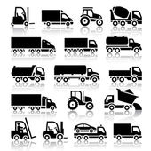 Set of truck black icons — Stock Vector