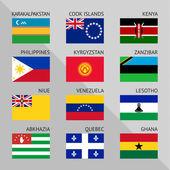 Bandeiras do mundo, plana. definir número 16 — Vetor de Stock