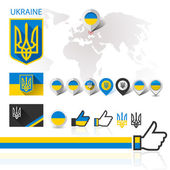 Flag, emblem Ukraine and World map — Stock Vector
