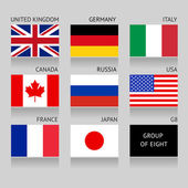 Set of G8 flags — Stock Vector