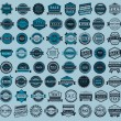 Racing badges - big blue set, vintage style — Stock Vector #42187197