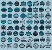 Racing badges - big blue set, vintage style — Stock Vector