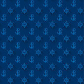 Seamless patterns, blue anchors, with shadow — Stock Vector