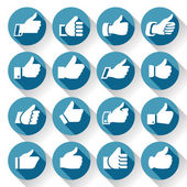 Thumbs up, set icons on round blue buttons — Stockvector