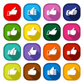 Thumbs up, set colored buttons — Stock Vector