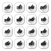Thumbs up, set buttons — Stock Vector