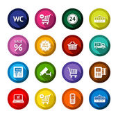 Shopping flat colored buttons set 03 — Vector de stock