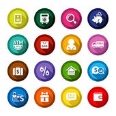 Shopping flat colored buttons set 04 — Stock Vector