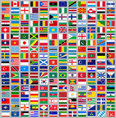 216 Flags all world — Stock Vector