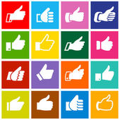 Like, set icons on colored squares — Stock Vector