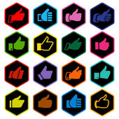 Like, set colored icons on rounded hexagon — Stock Vector