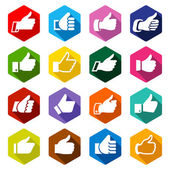 Like, set white icons on rounded hexagon — Stock Vector