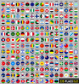 220 Flags of the world, circular shape — Stock Vector