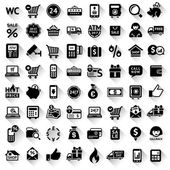 Shopping set, flat black icons — Stock Vector