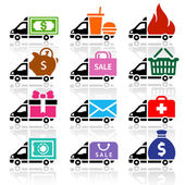 Delivery truck flat icons set — Vecteur