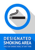 Label smoking area sticker, flat design — Stock Vector