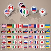 G8-ländernas flaggor med karta stor uppsättning — Stockvektor