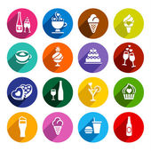 Set flat food icons — Stock Vector