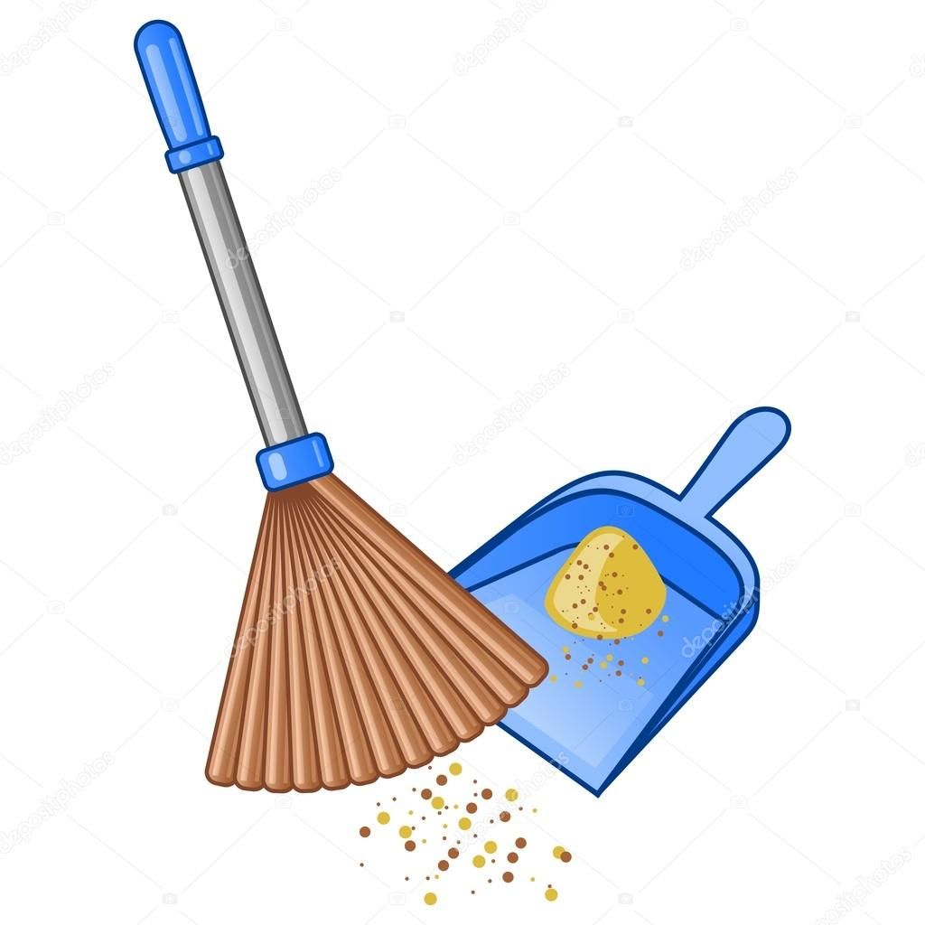 Broom and dustpan. Vector illustration — Stock Vector #18343779