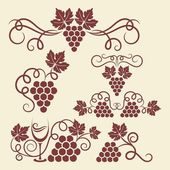 Grape vine elements — Stock Vector