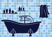 Blue bathroom interior — Stock Vector