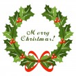 Christmas wreath with red bow — Imagen vectorial