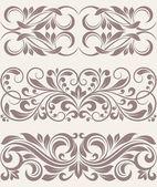 Set vintage ornate border frame filigree — Stock Vector
