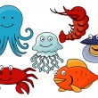 Cartoon sea animals. — Stock Vector