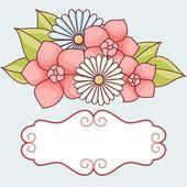 Uitnodigingskaart met bloemen. — Stockvector