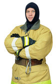 Firefighter in balaclava — Stock Photo