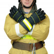 Stock Photo: Firefighter gives gesture CLOSE