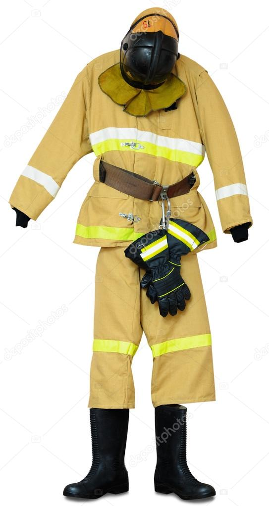 Bunker gear - protective outerwear fireman on white background — Stock Photo #18557597
