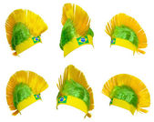 Headgear fan of the Brazilian national team — Stock Photo