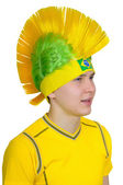 Football fan in headdress - Mohawk (Iroquois) — Stock Photo