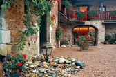 Courtyard with flowers — Foto Stock