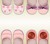 Shoes for little girls — Stock Vector